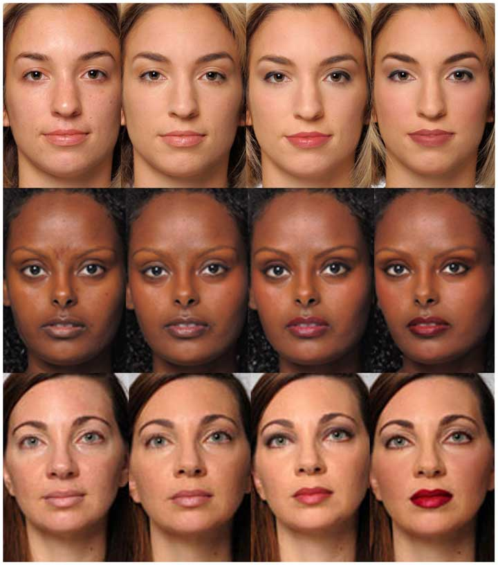 women pics with make up for a study