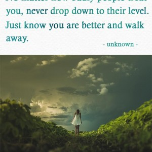 No matter how badly people treat you, never drop down to their level. Just know you are better and walk away.