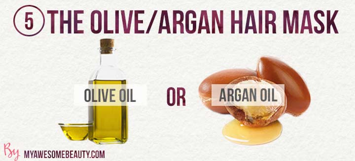 the simple olive or argan oil hair mask
