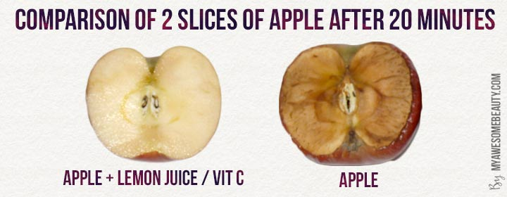 comparison of 2 slices of apple with and without vitamin C