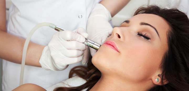 woman having skin microdermabrasion