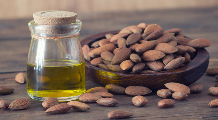 sweet almond oil and almonds