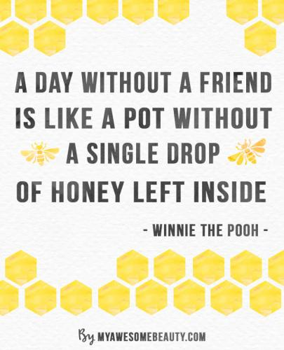 a day without a friend is like a pot without a single drop of honey left inside