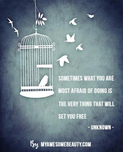 Sometimes what you are most afraid of doing is the very thing that will set you free